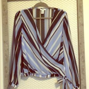 Bar III blue stripe wrap front blouse, Sz M